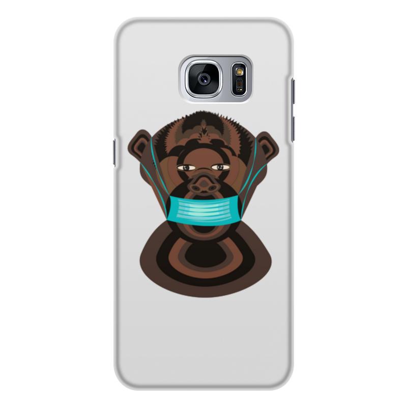 Printio Чехол для Samsung Galaxy S7 Edge, объёмная печать шимпанзе в маске