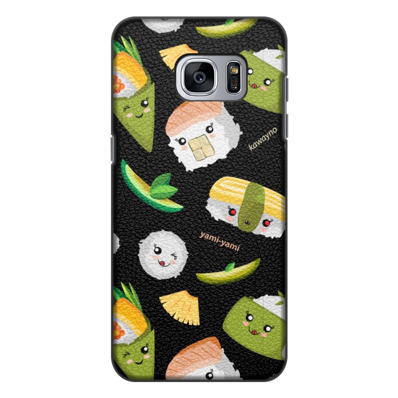 Printio Чехол для Samsung Galaxy S7 Edge, объёмная печать Кавайные суши