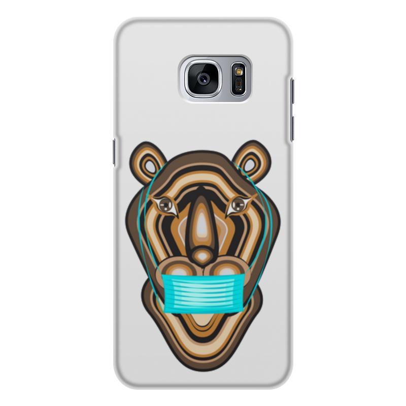 Printio Чехол для Samsung Galaxy S7 Edge, объёмная печать Тигр в маске