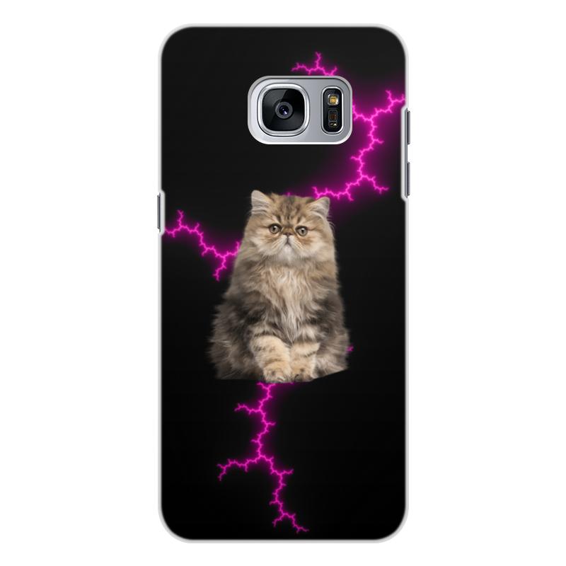 Printio Чехол для Samsung Galaxy S7 Edge, объёмная печать Кот и молния