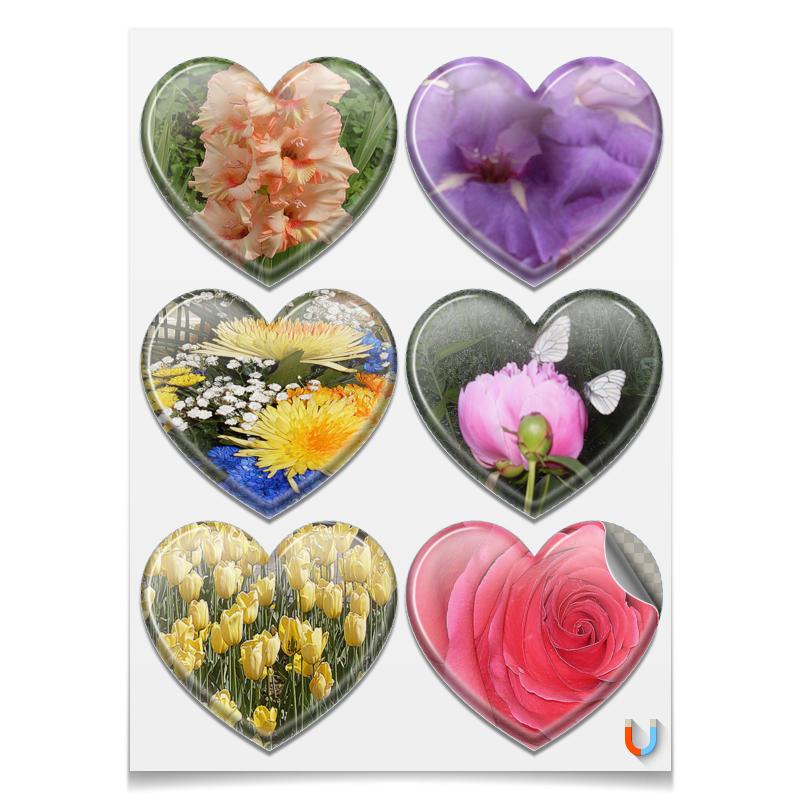 Printio Магниты-сердца 7.5×9.7 см Цветочная фантазия.
