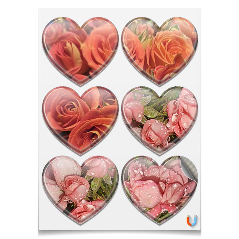 Printio Магниты-сердца 7.5×9.7 см Розы в моем сердце.
