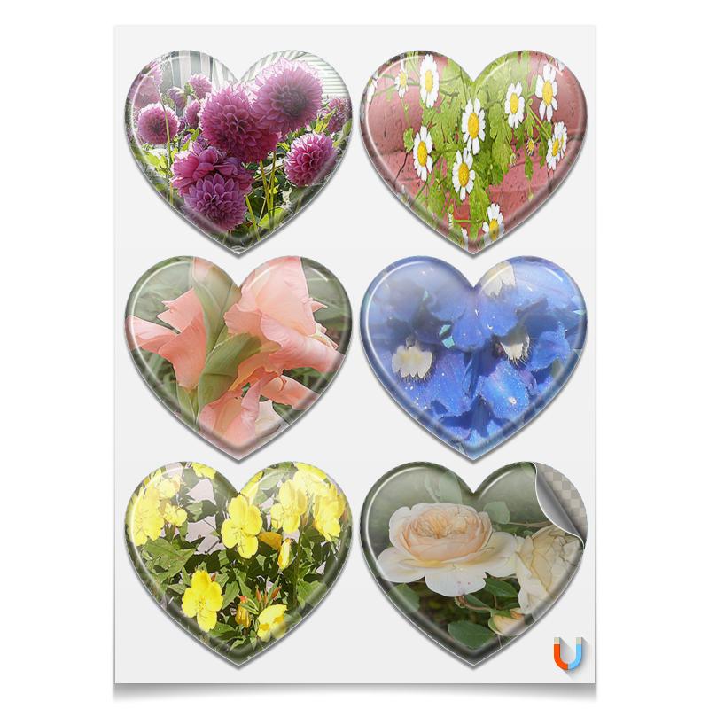 Printio Магниты-сердца 7.5×9.7 см Цветущие сердца.
