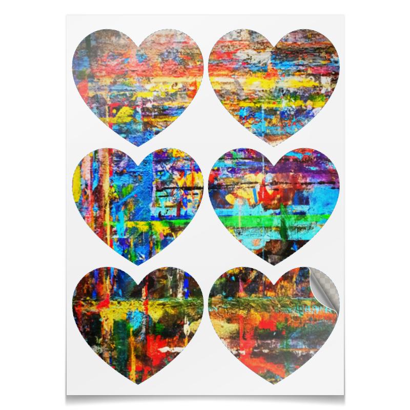 Printio Наклейки-сердца 7.5×9.7 см Живописные сердца.