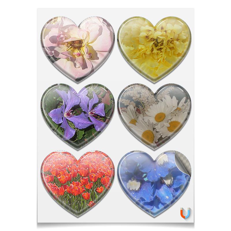Printio Наклейки-сердца 7.5×9.7 см Цветущие сердца.