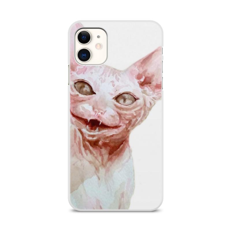 Printio Чехол для iPhone 11, объёмная печать Кот розовый
