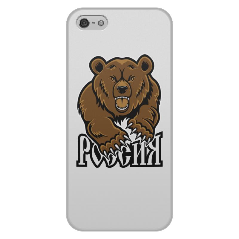 Printio Чехол для iPhone 5/5S, объёмная печать Медведь. символика