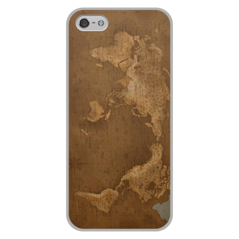 Printio Чехол для iPhone 5/5S, объёмная печать Карта мира
