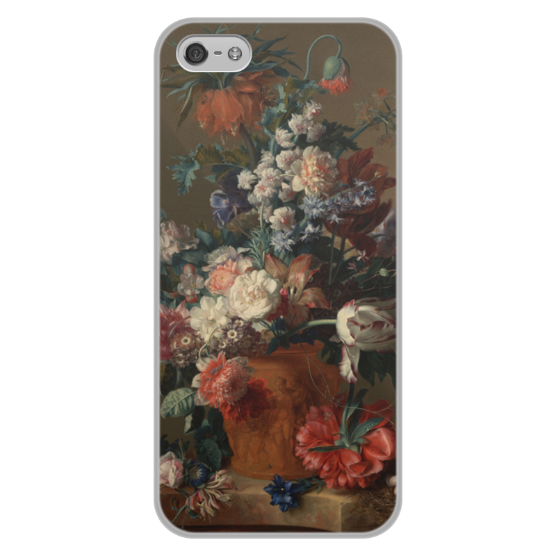 Printio Чехол для iPhone 5/5S, объёмная печать Ваза с цветами (ян ван хёйсум) printio чехол для iphone 5 5s объёмная печать цветочный натюрморт ян ван хёйсум