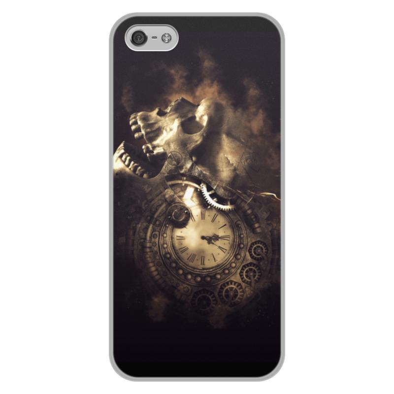 Printio Чехол для iPhone 5/5S, объёмная печать Череп с часами