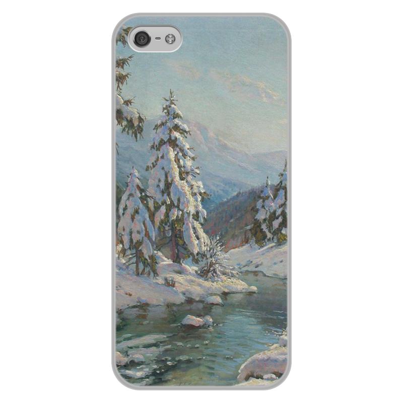 Фото - Printio Чехол для iPhone 5/5S, объёмная печать Зимний пейзаж с елями (картина вещилова) printio чехол для iphone 7 plus объёмная печать цветы на фоне озера картина вещилова