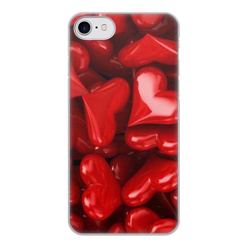 Printio Чехол для iPhone 7, объёмная печать Сердечки чехол
