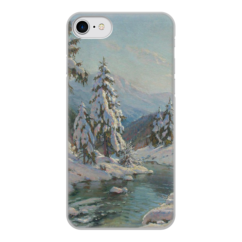 Фото - Printio Чехол для iPhone 7, объёмная печать Зимний пейзаж с елями (картина вещилова) printio чехол для iphone 7 plus объёмная печать цветы на фоне озера картина вещилова