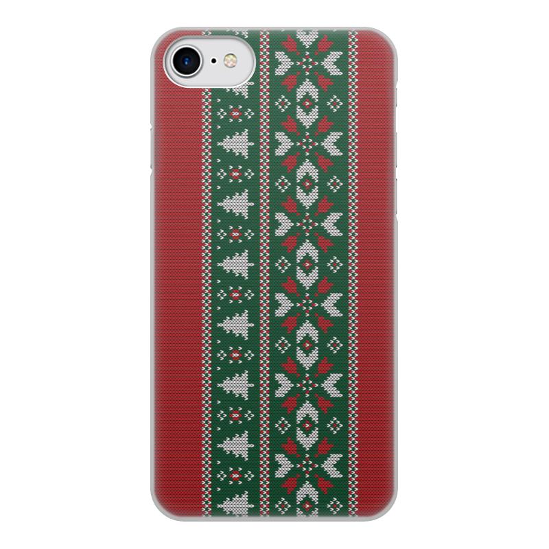 Printio Чехол для iPhone 7, объёмная печать Новогодние узоры