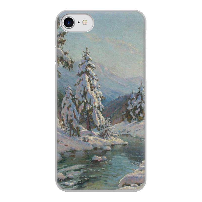 Фото - Printio Чехол для iPhone 8, объёмная печать Зимний пейзаж с елями (картина вещилова) printio чехол для iphone 7 plus объёмная печать цветы на фоне озера картина вещилова