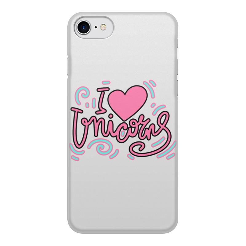 Printio Чехол для iPhone 8, объёмная печать I love unicorns