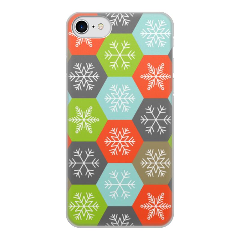 Printio Чехол для iPhone 8, объёмная печать Снежинки чехол