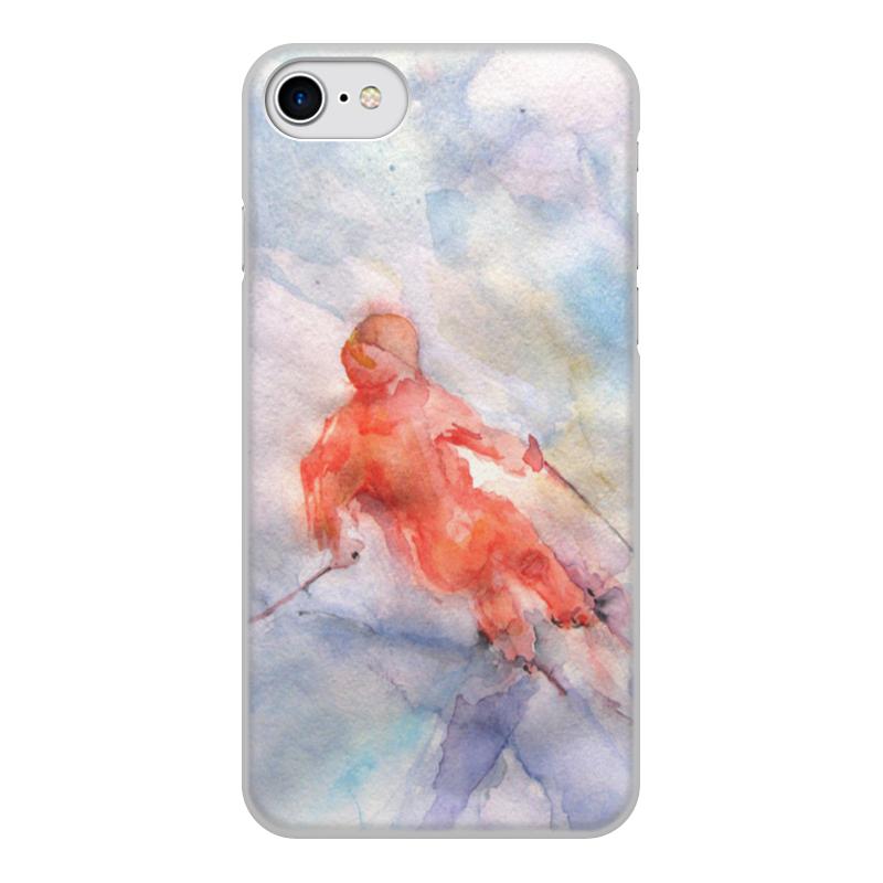 Printio Чехол для iPhone 8, объёмная печать Экстрим. горные лыжи.