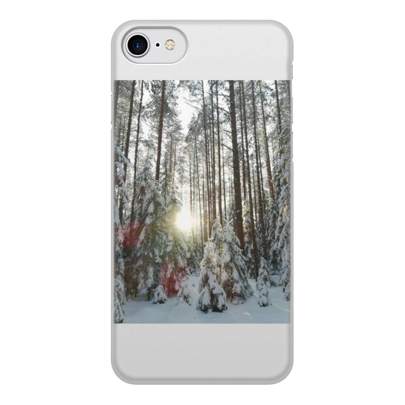 Printio Чехол для iPhone 8, объёмная печать Лес и солнце,день чудесный,зима