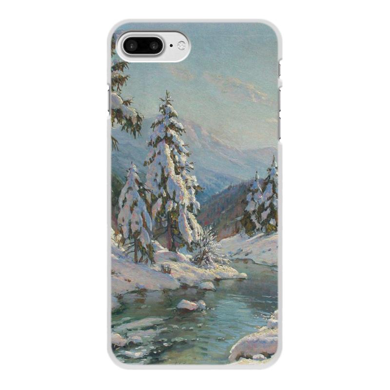 Фото - Printio Чехол для iPhone 8 Plus, объёмная печать Зимний пейзаж с елями (картина вещилова) printio чехол для iphone 7 plus объёмная печать цветы на фоне озера картина вещилова
