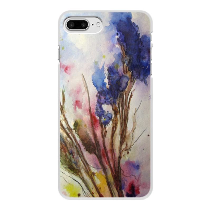 Printio Чехол для iPhone 8 Plus, объёмная печать Синие осенние цветы