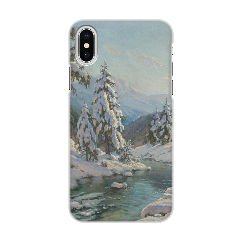 Фото - Printio Чехол для iPhone X/XS, объёмная печать Зимний пейзаж с елями (картина вещилова) printio чехол для iphone 7 plus объёмная печать цветы на фоне озера картина вещилова