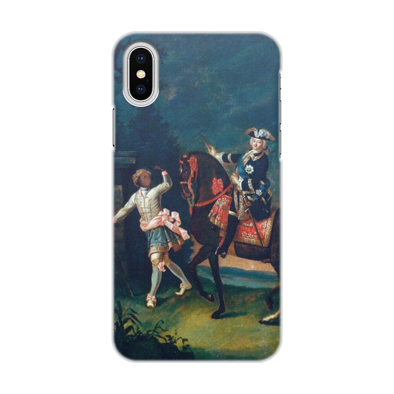Printio Чехол для iPhone X/XS, объёмная печать Конный портрет елизаветы петровны с арапчонком