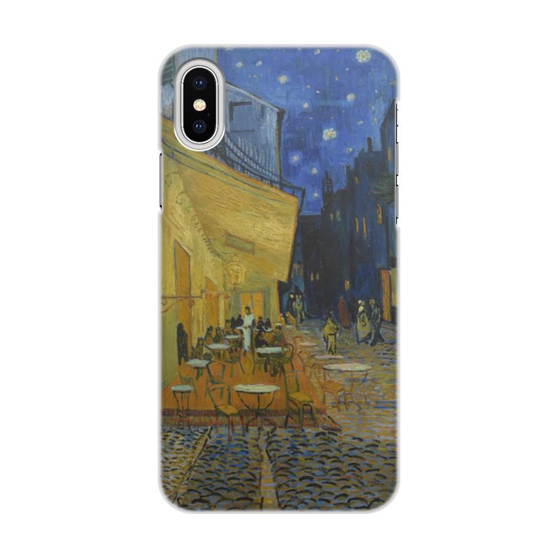 Printio Чехол для iPhone X/XS, объёмная печать Ночная терраса кафе (винсент ван гог)