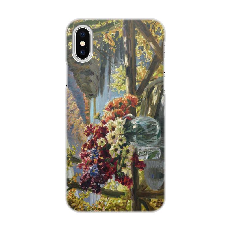 Фото - Printio Чехол для iPhone X/XS, объёмная печать Цветы на фоне озера (картина вещилова) printio чехол для iphone 7 plus объёмная печать цветы на фоне озера картина вещилова