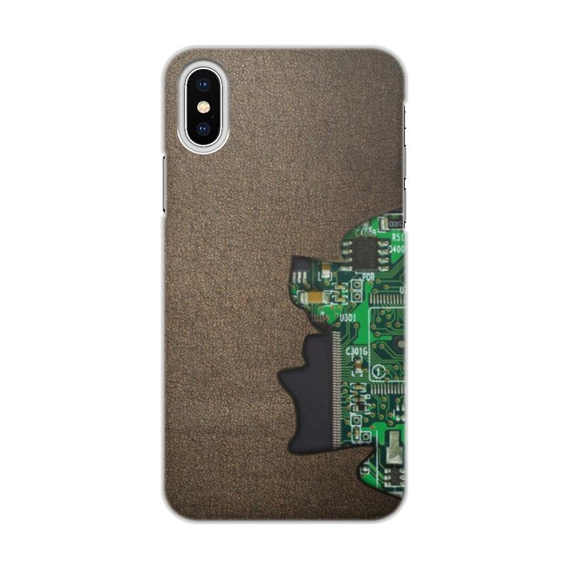 Printio Чехол для iPhone X/XS, объёмная печать Внутренний мир телефона (микросхема).