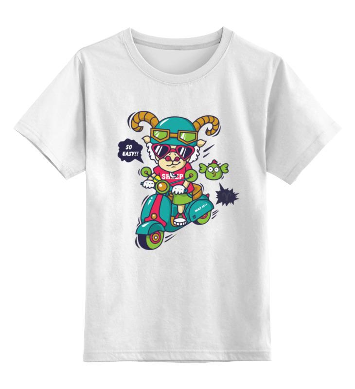 Printio Детская футболка классическая унисекс Баран на мотороллере