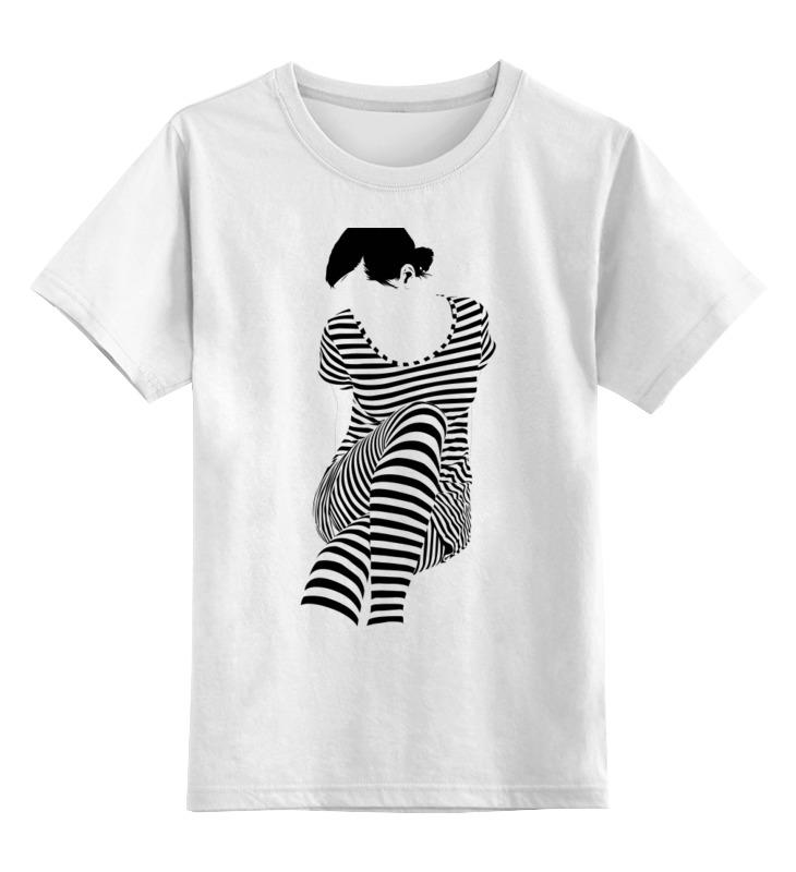 Printio Детская футболка классическая унисекс Белая,стильная,с рисунком,чайки,полосатая девушка