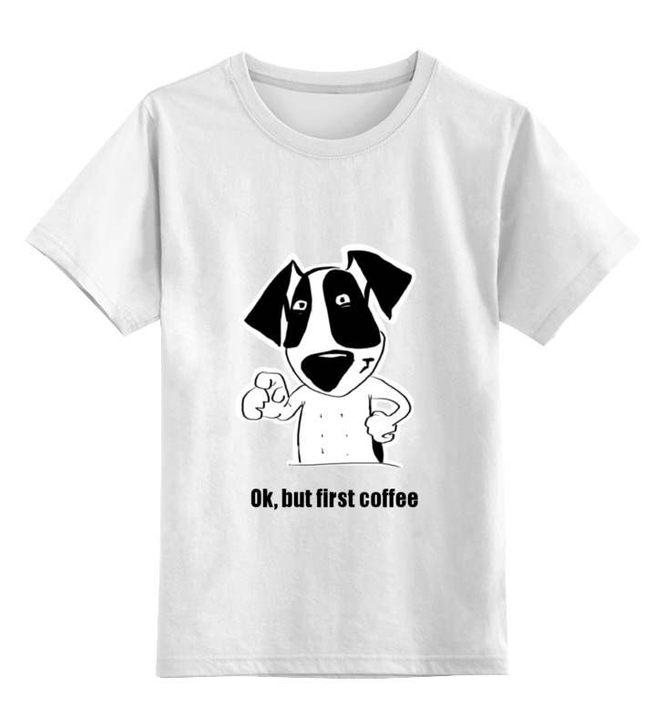 детская футболка классическая унисекс printio banana coffee minion Printio Детская футболка классическая унисекс Ok, but first coffee