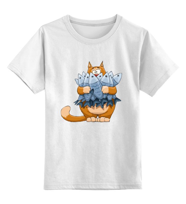Printio Детская футболка классическая унисекс Кот с рыбой.