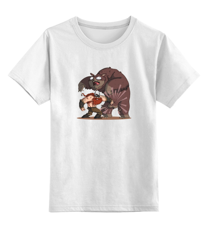 printio лонгслив викинг и медведь Printio Детская футболка классическая унисекс Викинг и медведь