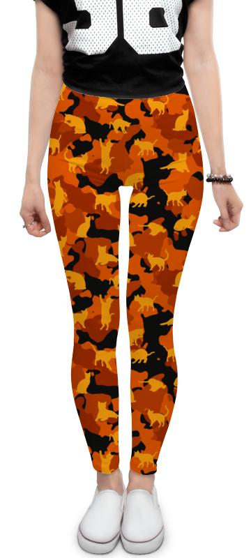 Printio Леггинсы Оранжевые котики на камуфляжном фоне