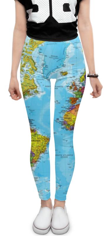 Printio Леггинсы Контурная карта планеты земля континен с дневник планеты земля тайны сокровища катастрофы