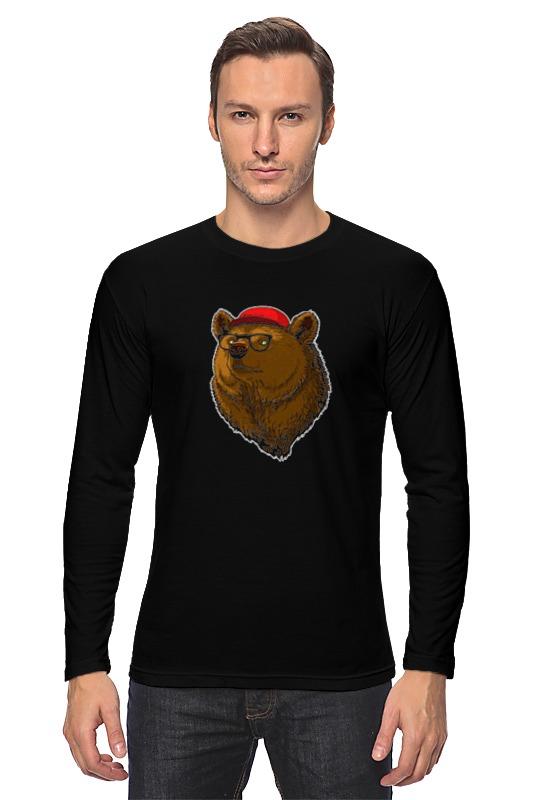 printio лонгслив викинг и медведь Printio Лонгслив Медведь-хипстер