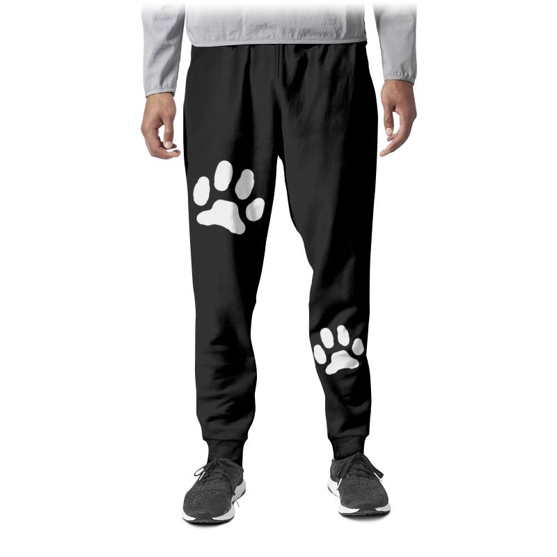 Printio Штаны спортивные мужские Следы кошки белые на чёрном