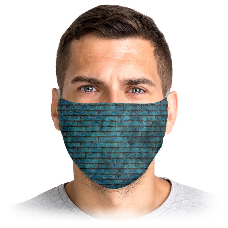 Printio Маска лицевая Синяя кирпичная стена