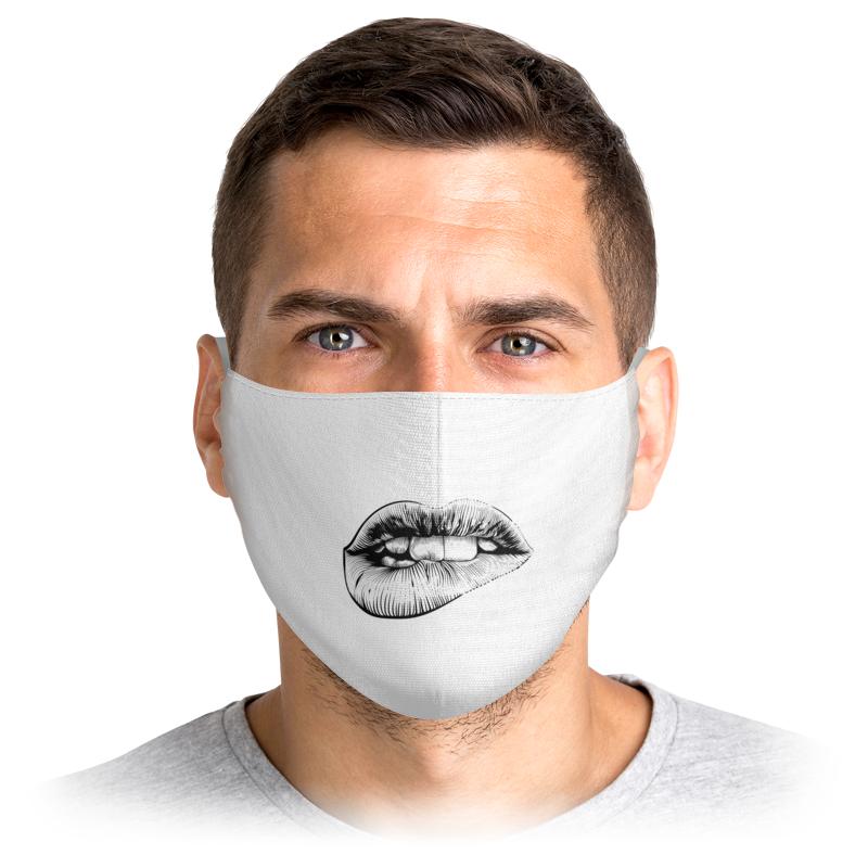 Printio Маска лицевая Черно-белые губы на лице