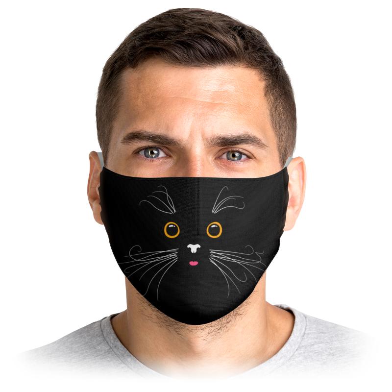 Printio Маска лицевая Милая усатая и глазастая кошачья мордашка