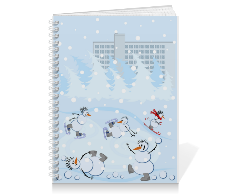 Printio Тетрадь на пружине Снеговики и зимние виды спорта