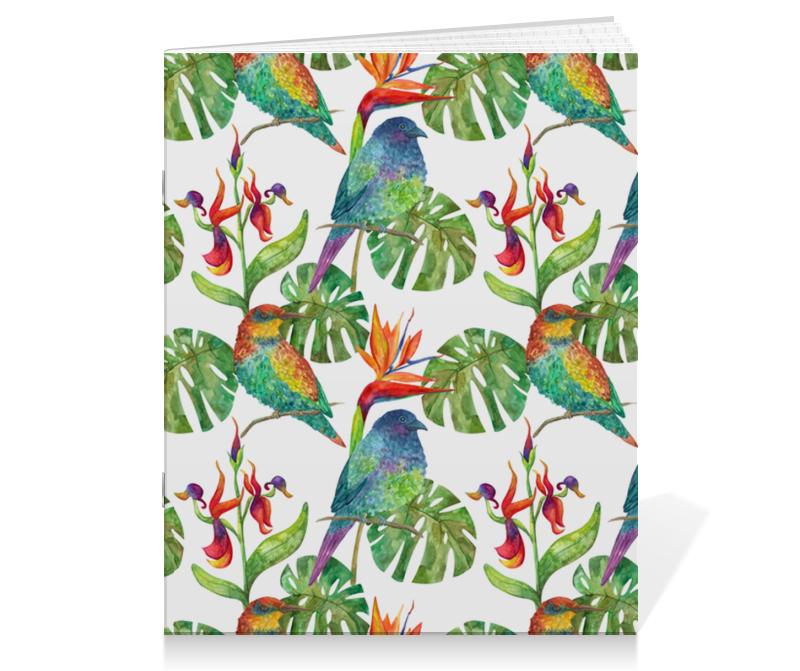 Printio Тетрадь на скрепке Тропический узор с птицами и цветами