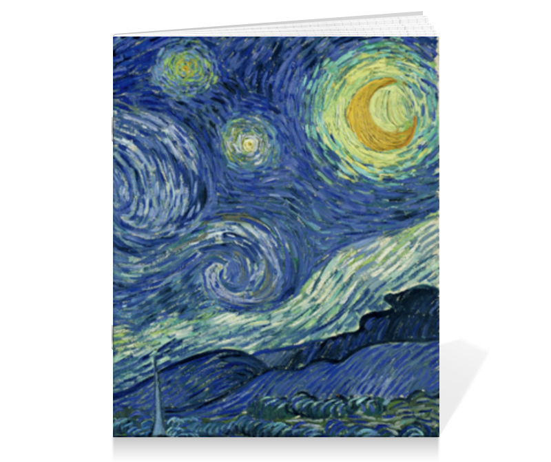 Printio Тетрадь на скрепке Звёздная ночь (винсент ван гог) кошелек с застёжкой винсент ван гог звёздная ночь pu 10 9 блистер 12 11592 zy 5
