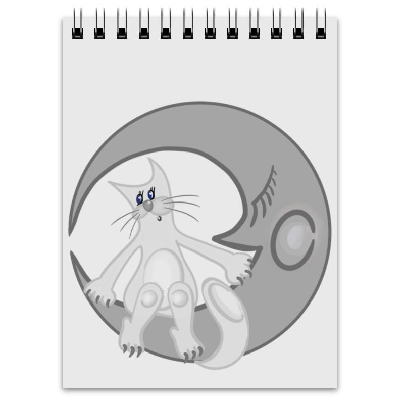 Printio Блокнот Лунный кот сидит на луне