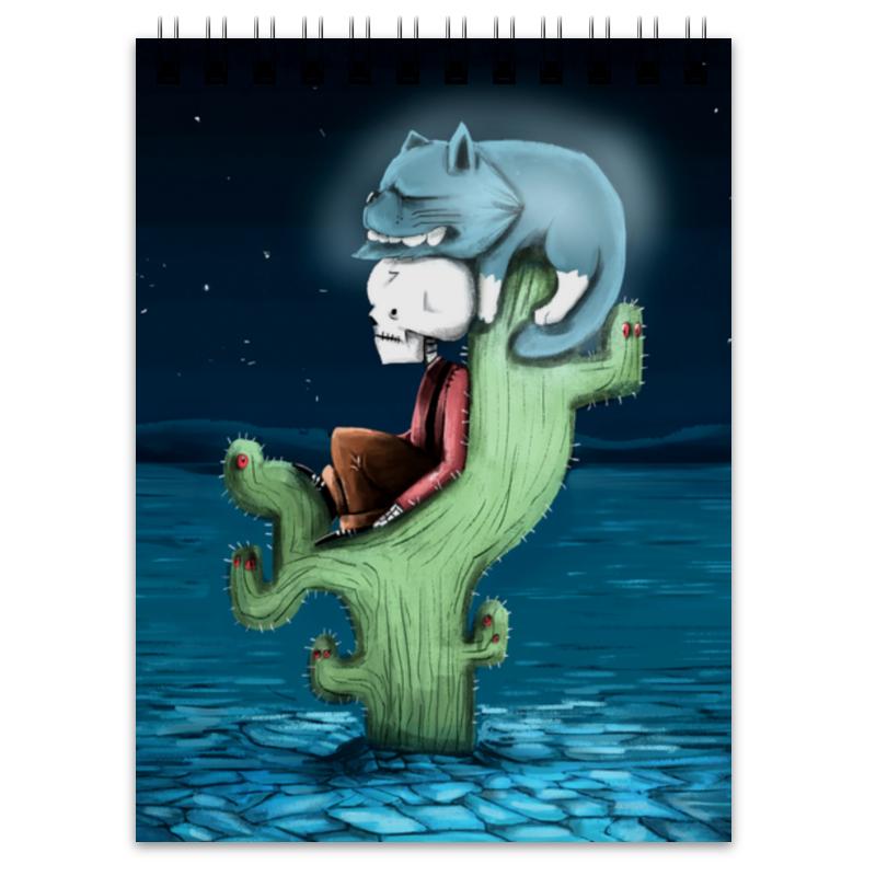 Printio Блокнот Скелет и жуткий кот