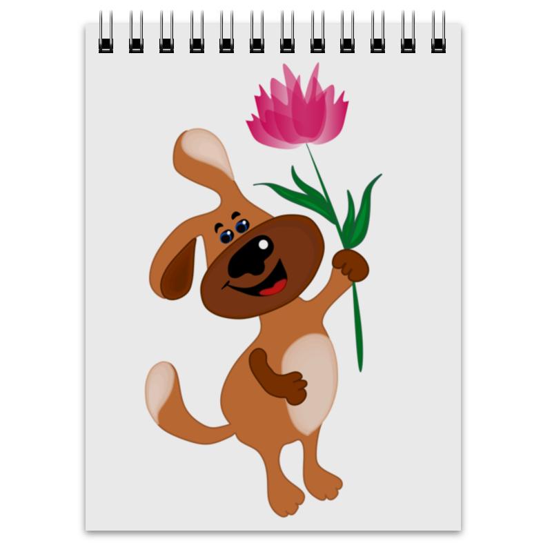 Printio Блокнот Пес держит в лапе цветочек