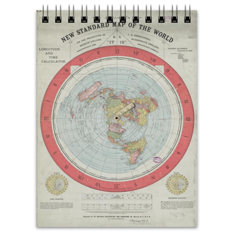 Printio Блокнот Карта плоской земли