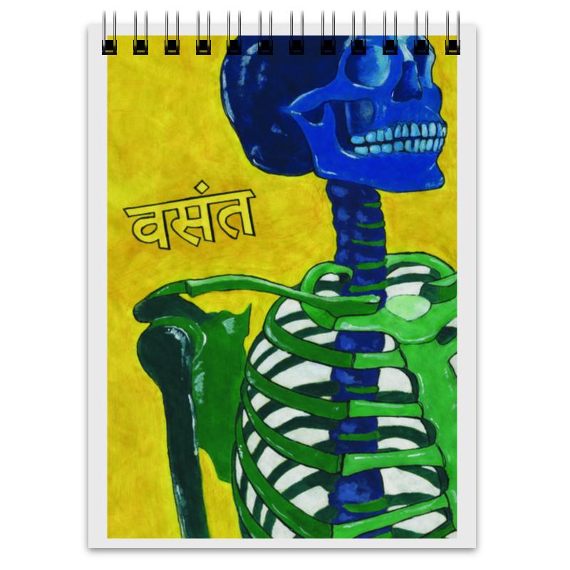Printio Блокнот Разноцветный скелет на желтом фоне